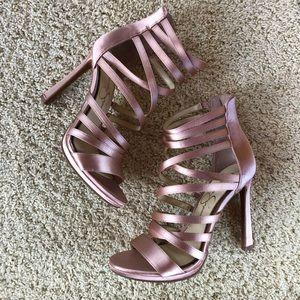 Jessica Simpson Pink Satin Strappy Heels